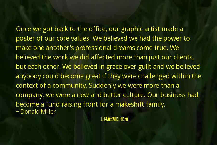 Office Work Sayings By Donald Miller: Once we got back to the office, our graphic artist made a poster of our