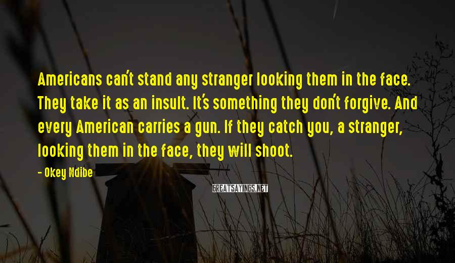 Okey Ndibe Sayings: Americans can't stand any stranger looking them in the face. They take it as an