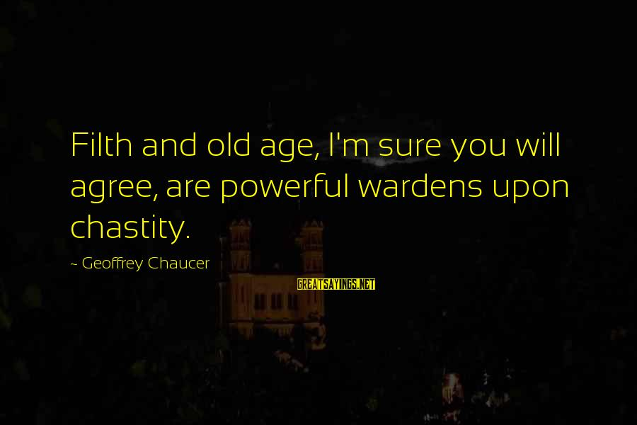 Old Filth Sayings By Geoffrey Chaucer: Filth and old age, I'm sure you will agree, are powerful wardens upon chastity.