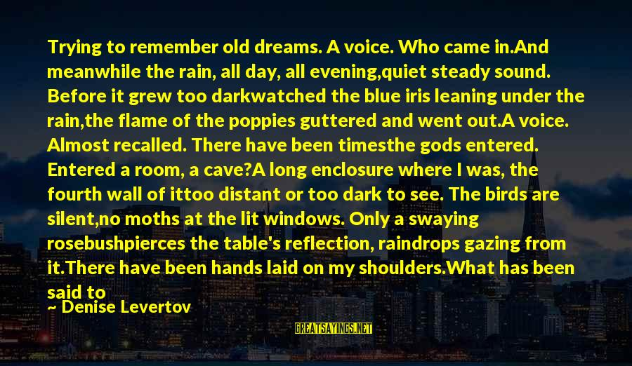 Old Hands Sayings By Denise Levertov: Trying to remember old dreams. A voice. Who came in.And meanwhile the rain, all day,