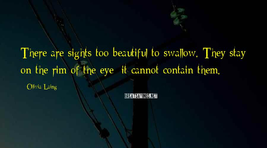 Olivia Laing Sayings: There are sights too beautiful to swallow. They stay on the rim of the eye;