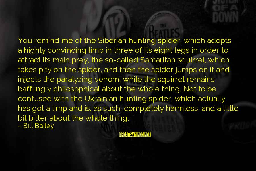 Om Shanti Sayings By Bill Bailey: You remind me of the Siberian hunting spider, which adopts a highly convincing limp in