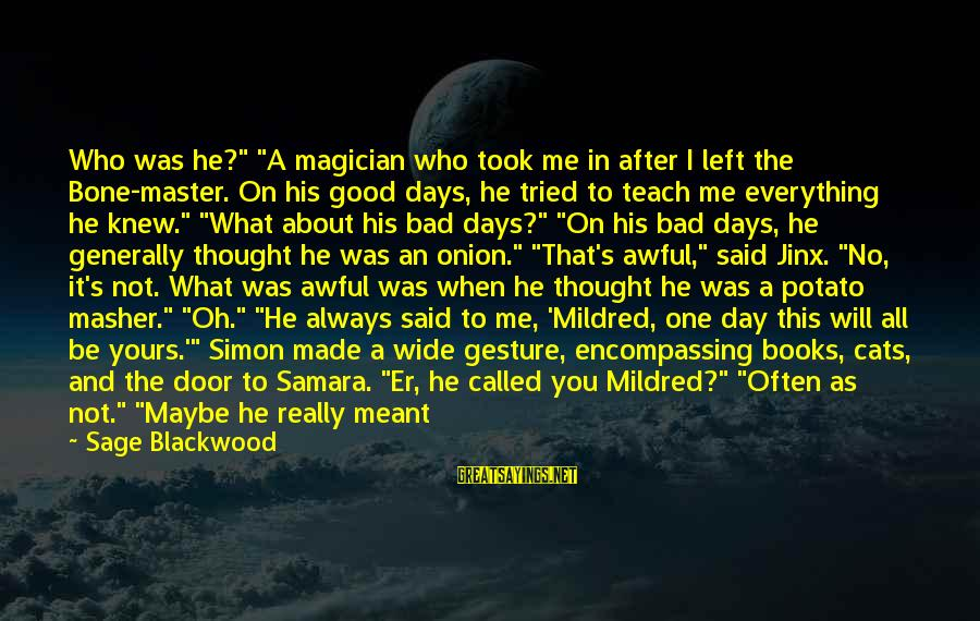 """Once I Leave Sayings By Sage Blackwood: Who was he?"""" """"A magician who took me in after I left the Bone-master. On"""
