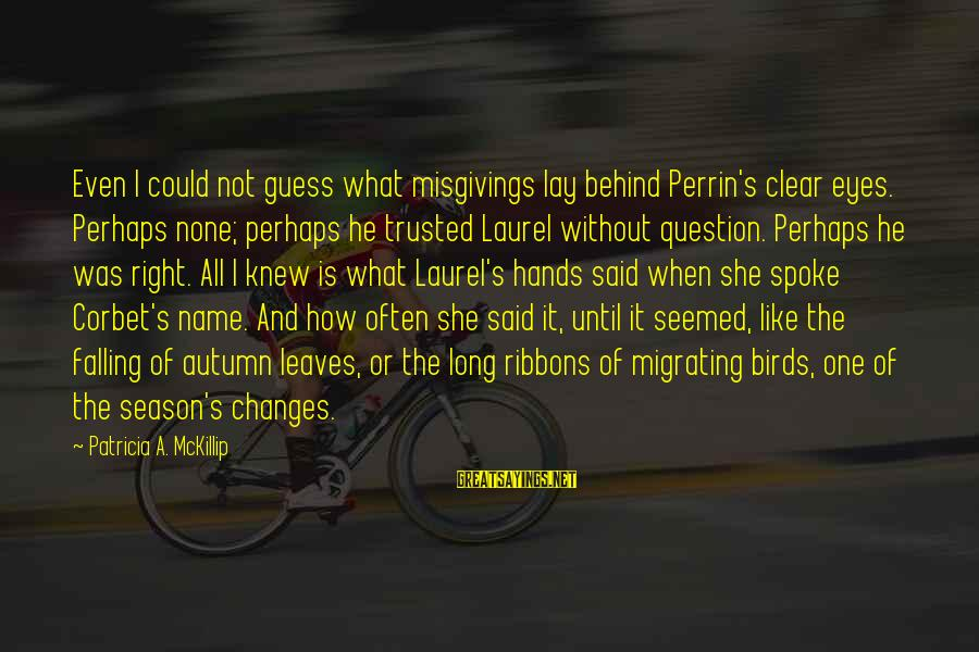 One Name Sayings By Patricia A. McKillip: Even I could not guess what misgivings lay behind Perrin's clear eyes. Perhaps none; perhaps