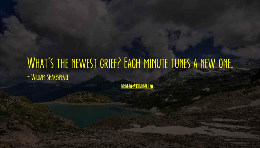 One Of Shakespeare's Best Sayings By William Shakespeare: What's the newest grief? Each minute tunes a new one.