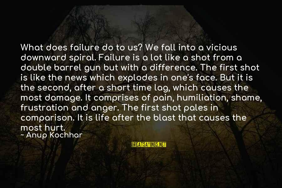 One Shot Life Sayings By Anup Kochhar: What does failure do to us? We fall into a vicious downward spiral. Failure is