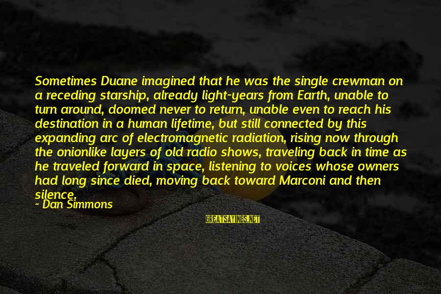 Onionlike Sayings By Dan Simmons: Sometimes Duane imagined that he was the single crewman on a receding starship, already light-years