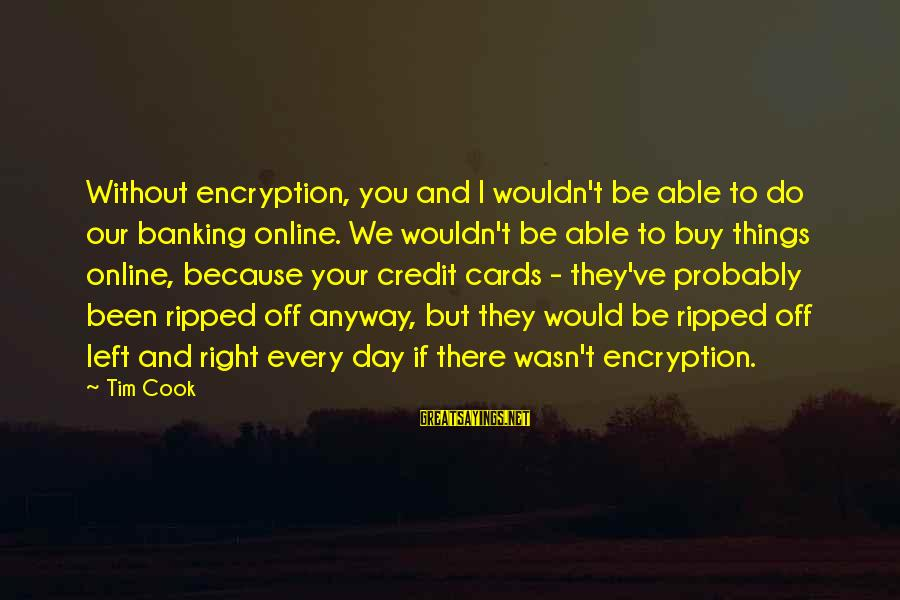 Online Banking Sayings By Tim Cook: Without encryption, you and I wouldn't be able to do our banking online. We wouldn't