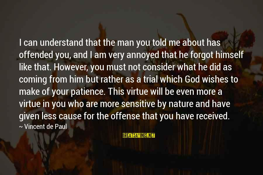 Only God Can Understand Me Sayings By Vincent De Paul: I can understand that the man you told me about has offended you, and I