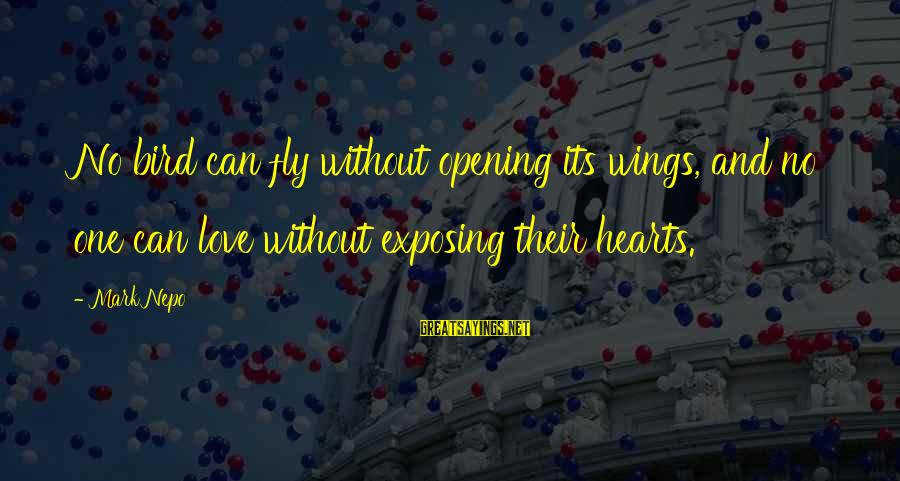 Opening Your Heart To Love Sayings By Mark Nepo: No bird can fly without opening its wings, and no one can love without exposing