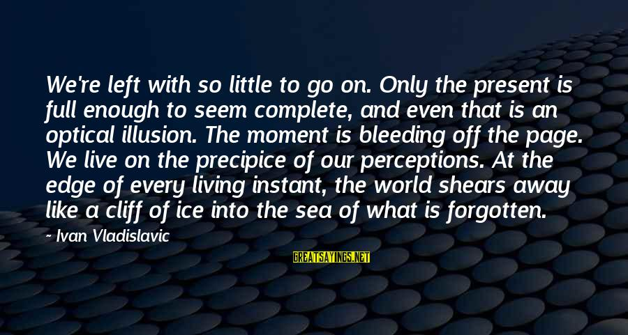 Optical Sayings By Ivan Vladislavic: We're left with so little to go on. Only the present is full enough to