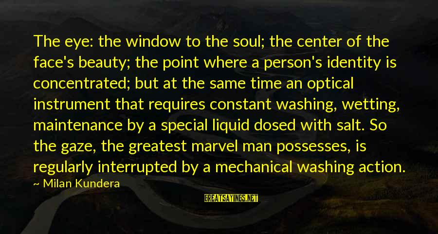 Optical Sayings By Milan Kundera: The eye: the window to the soul; the center of the face's beauty; the point