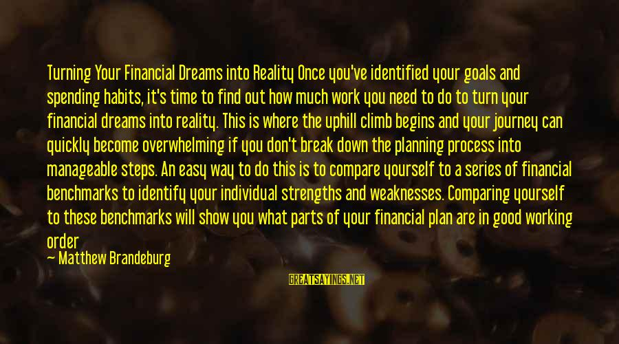 Order My Steps Sayings By Matthew Brandeburg: Turning Your Financial Dreams into Reality Once you've identified your goals and spending habits, it's