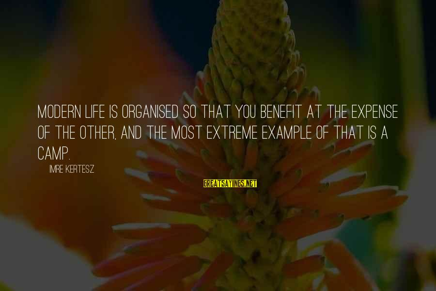 Organised Life Sayings By Imre Kertesz: Modern life is organised so that you benefit at the expense of the other, and