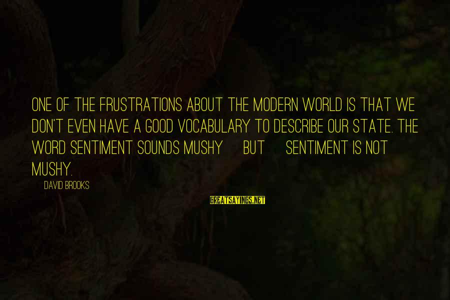 Our Modern World Sayings By David Brooks: One of the frustrations about the modern world is that we don't even have a