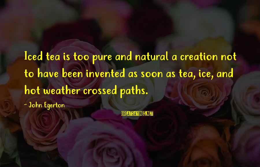 Our Paths Crossed Sayings By John Egerton: Iced tea is too pure and natural a creation not to have been invented as