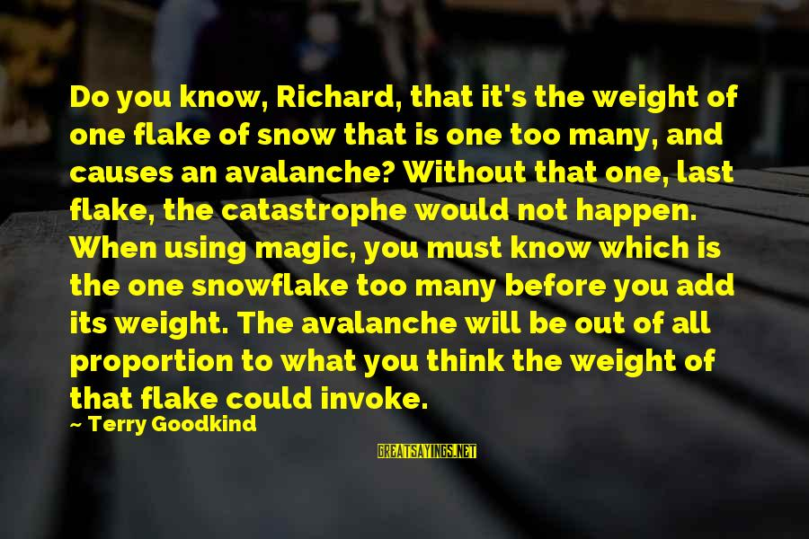 Out Of Proportion Sayings By Terry Goodkind: Do you know, Richard, that it's the weight of one flake of snow that is