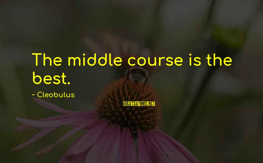 Outer Shell Sayings By Cleobulus: The middle course is the best.