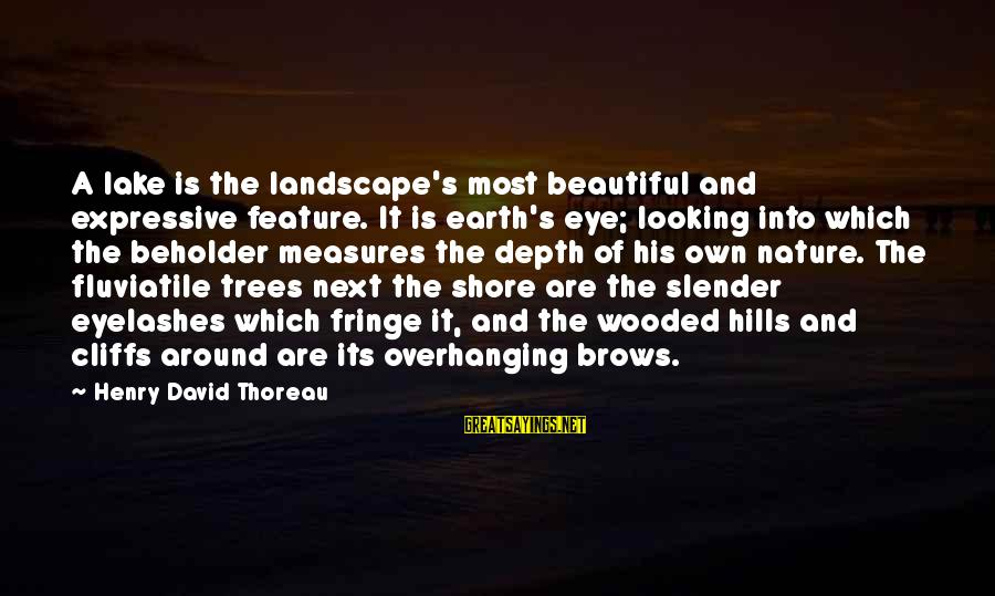 Outer Shell Sayings By Henry David Thoreau: A lake is the landscape's most beautiful and expressive feature. It is earth's eye; looking