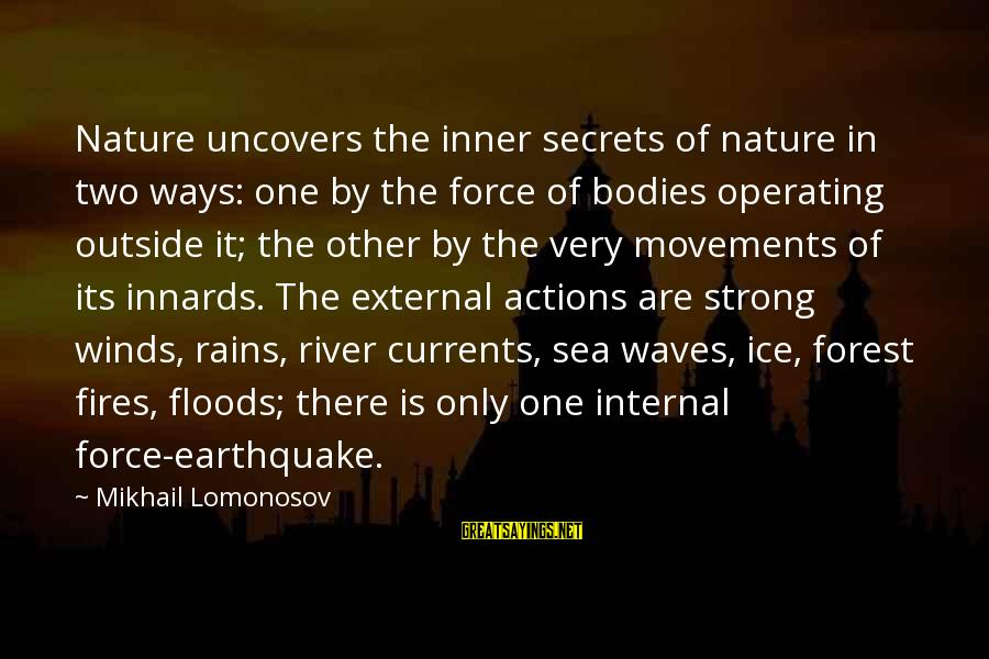 Outside Nature Sayings By Mikhail Lomonosov: Nature uncovers the inner secrets of nature in two ways: one by the force of