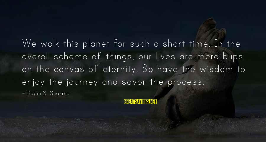 Overall Sayings By Robin S. Sharma: We walk this planet for such a short time. In the overall scheme of things,