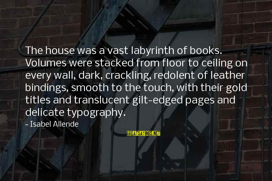 Pages Of Books Sayings By Isabel Allende: The house was a vast labyrinth of books. Volumes were stacked from floor to ceiling