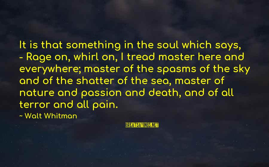 Pain And Death Sayings By Walt Whitman: It is that something in the soul which says, - Rage on, whirl on, I