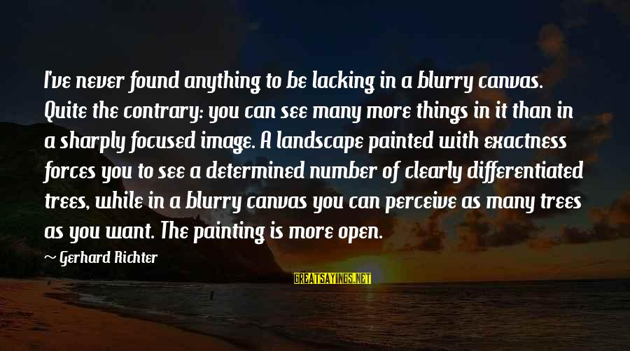 Painted Canvas Sayings By Gerhard Richter: I've never found anything to be lacking in a blurry canvas. Quite the contrary: you