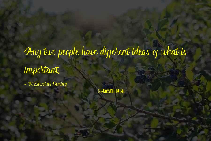 Parents In Malayalam Sayings By W. Edwards Deming: Any two people have different ideas of what is important.
