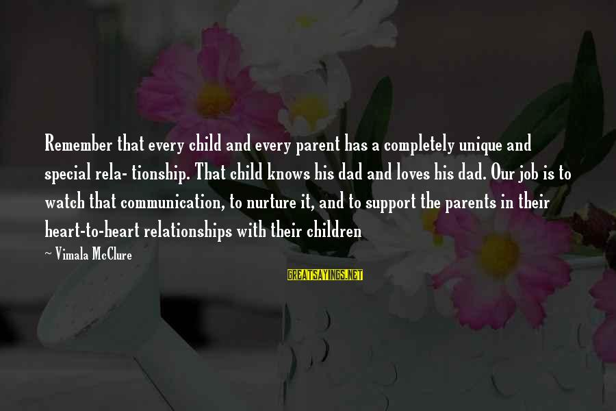 Parents Quotes And Sayings By Vimala McClure: Remember that every child and every parent has a completely unique and special rela- tionship.