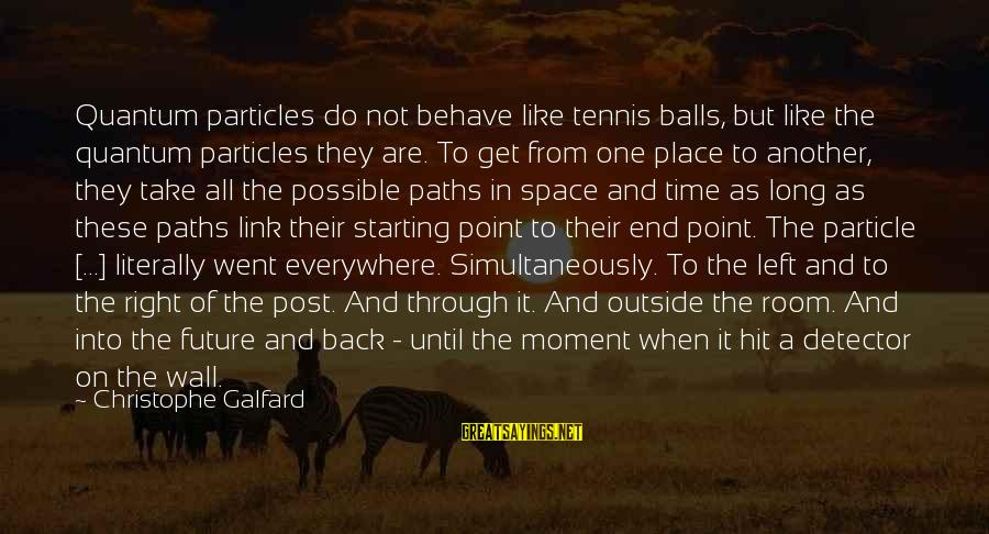 Particle Physics Sayings By Christophe Galfard: Quantum particles do not behave like tennis balls, but like the quantum particles they are.