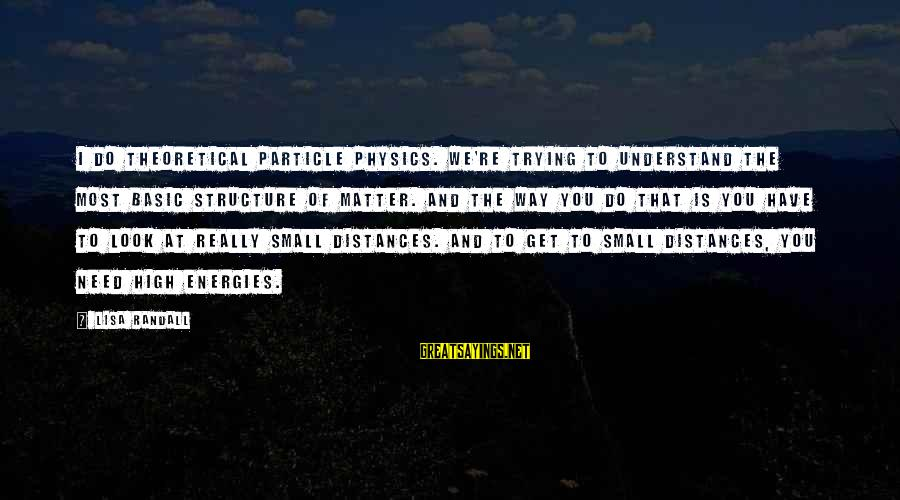 Particle Physics Sayings By Lisa Randall: I do theoretical particle physics. We're trying to understand the most basic structure of matter.