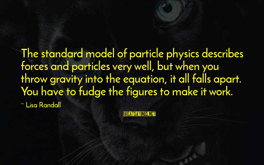 Particle Physics Sayings By Lisa Randall: The standard model of particle physics describes forces and particles very well, but when you