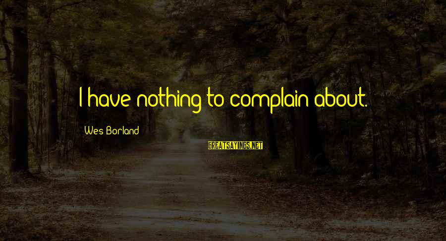 Party Pete Sayings By Wes Borland: I have nothing to complain about.
