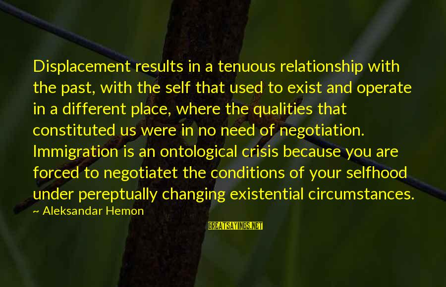 Past Self Sayings By Aleksandar Hemon: Displacement results in a tenuous relationship with the past, with the self that used to