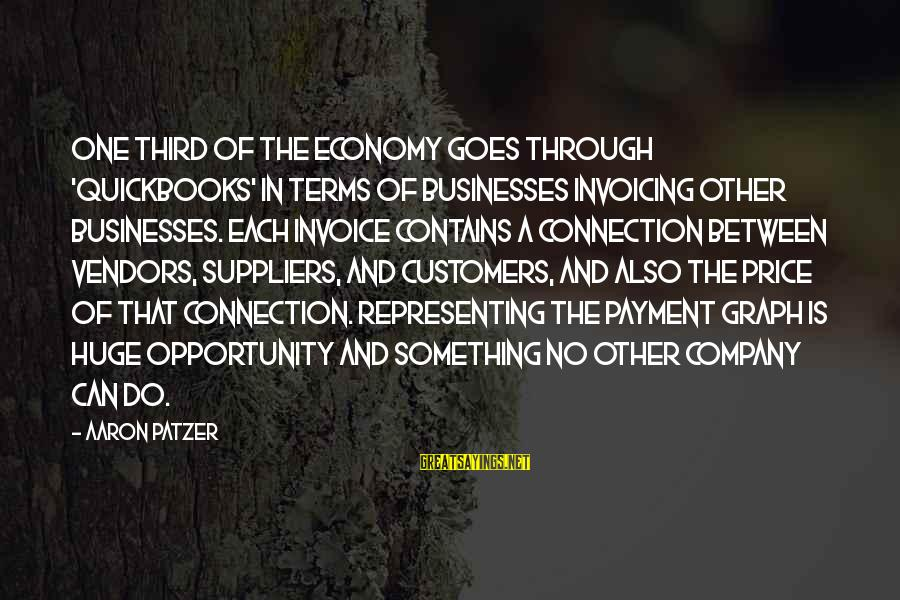 Patzer Sayings By Aaron Patzer: One third of the economy goes through 'QuickBooks' in terms of businesses invoicing other businesses.