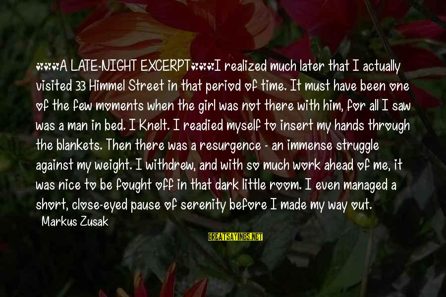 Pause Moments Sayings By Markus Zusak: ***A LATE-NIGHT EXCERPT***I realized much later that I actually visited 33 Himmel Street in that