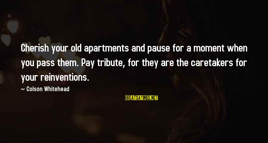 Pay Tribute Sayings By Colson Whitehead: Cherish your old apartments and pause for a moment when you pass them. Pay tribute,
