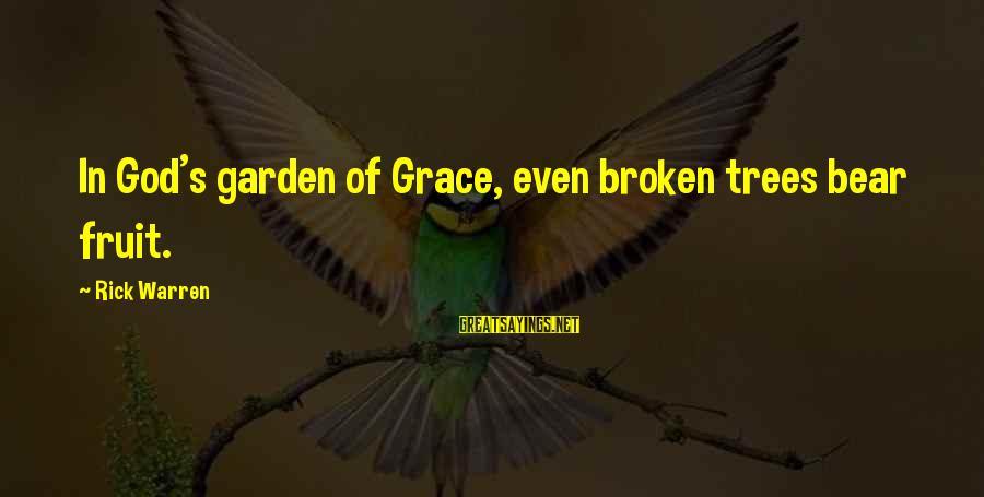 Pearl Harbor December 7 1941 Sayings By Rick Warren: In God's garden of Grace, even broken trees bear fruit.