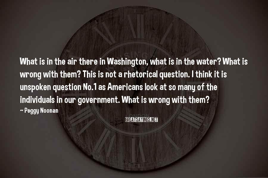 Peggy Noonan Sayings: What is in the air there in Washington, what is in the water? What is