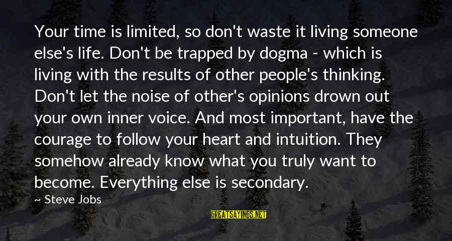 People's Opinions Sayings By Steve Jobs: Your time is limited, so don't waste it living someone else's life. Don't be trapped