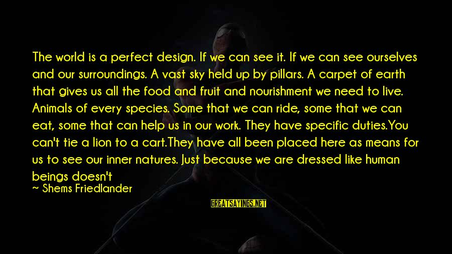 Perfect As You Are Sayings By Shems Friedlander: The world is a perfect design. If we can see it. If we can see