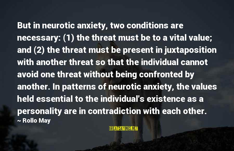 Personality Psychology Sayings By Rollo May: But in neurotic anxiety, two conditions are necessary: (1) the threat must be to a