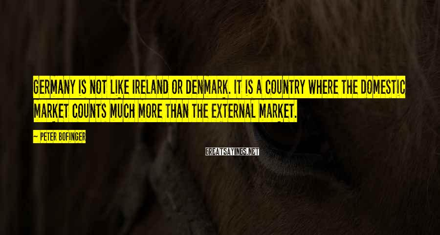 Peter Bofinger Sayings: Germany is not like Ireland or Denmark. It is a country where the domestic market