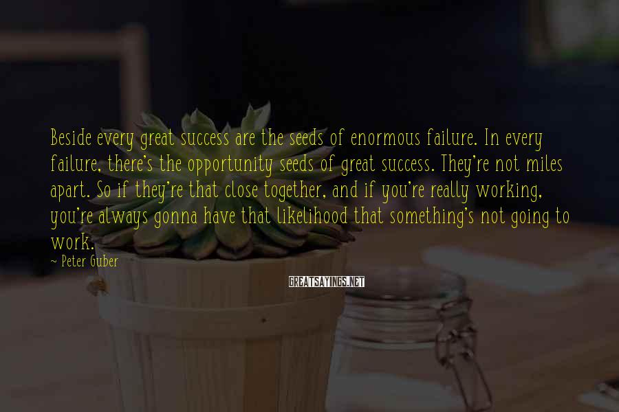 Peter Guber Sayings: Beside every great success are the seeds of enormous failure. In every failure, there's the