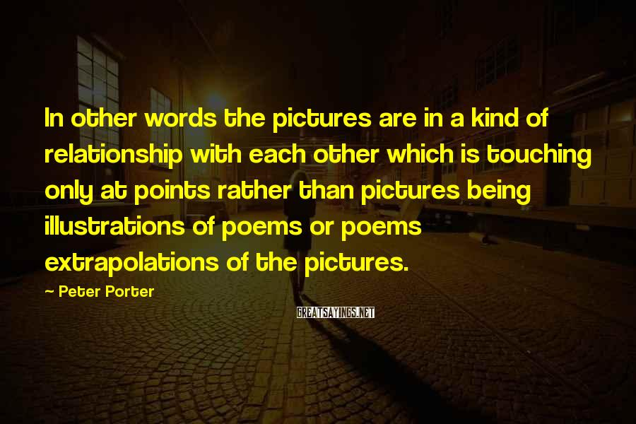 Peter Porter Sayings: In other words the pictures are in a kind of relationship with each other which