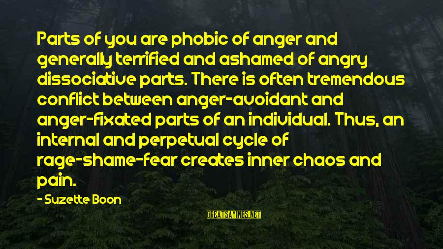 Phobic's Sayings By Suzette Boon: Parts of you are phobic of anger and generally terrified and ashamed of angry dissociative