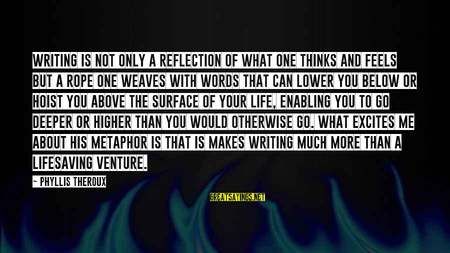 Phyllis Theroux Sayings By Phyllis Theroux: Writing is not only a reflection of what one thinks and feels but a rope