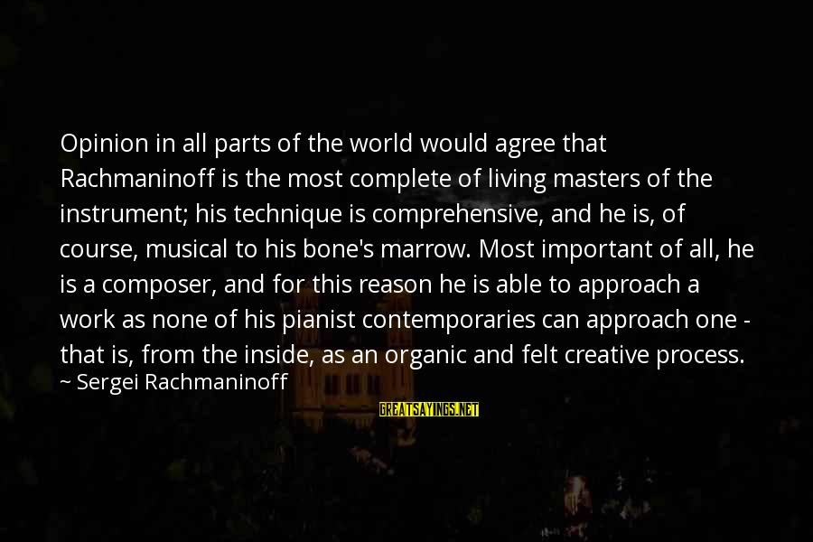 Pianist Sayings By Sergei Rachmaninoff: Opinion in all parts of the world would agree that Rachmaninoff is the most complete