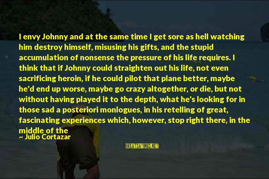 Pieces Of My Life Sayings By Julio Cortazar: I envy Johnny and at the same time I get sore as hell watching him